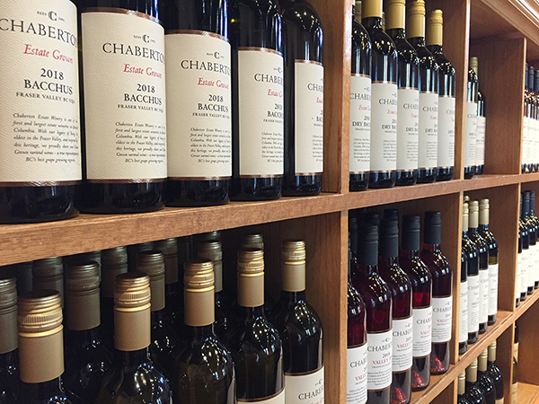 Chaberton Estate Wine on shelves in tasting room